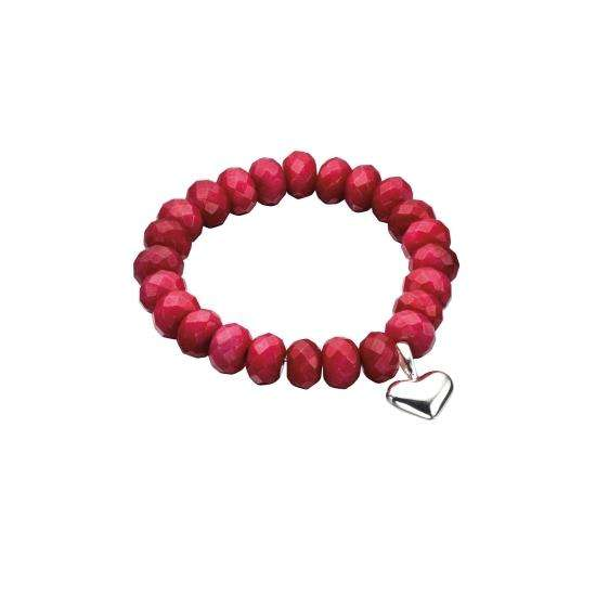 Dyed Red Jade Stretch Bracelet with Heart Charm