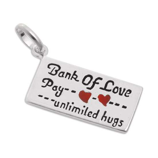 Sterling Silver & Enamel Bank of Love Cheque Charm