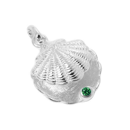 Sterling Silver Oyster Shell with CZ Crystal Emerald Birthstone Charm