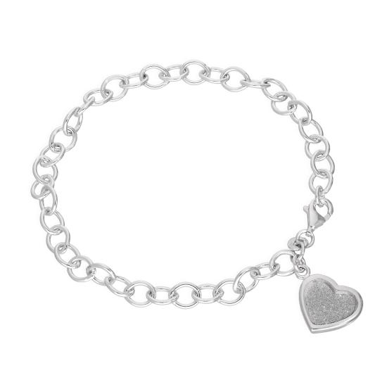 Sterling Silver Charm Bracelet w Frosted Heart 6 - 8 Inches