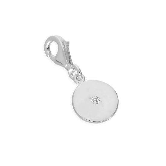 Sterling Silver & Clear CZ Crystal Round Clip on Charm