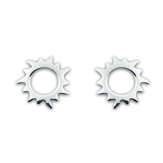 Sterling Silver Sunburst Stud Earrings