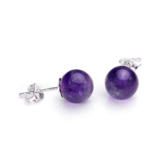 Sterling Silver Large Amethyst Stud Earrings