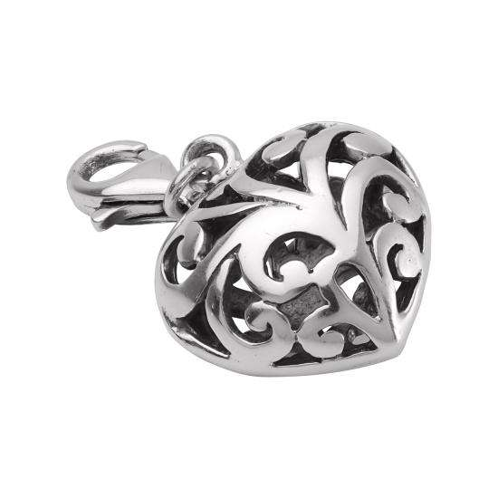 Sterling Silver Ornate Puffed Hollow Heart Clip on Charm