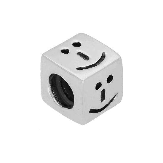 Sterling Silver Smiling Face Emoji Cube Bead Charm