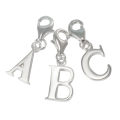 Sterling Silver Alphabet Letter A - Z Charm on Clip