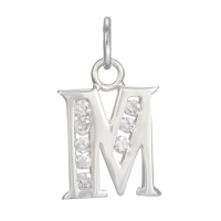 Sterling Silver Crystal Alphabet Letter M Charm