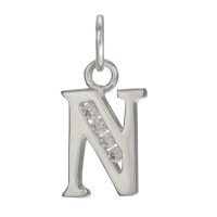 Sterling Silver Crystal Alphabet Letter N Charm