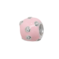 Sterling Silver Pink Scattered Crystal Bead