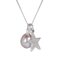 Sterling Silver Freshwater Rose Pearl & Star Charm Necklace