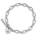 Sterling Silver Figaro Chain Heart Clasp Charm Bracelet