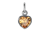 Sterling Silver Topaz Heart Crystal Charm
