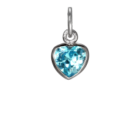 Sterling Silver Blue Heart Crystal Charm