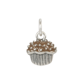 Sterling Silver Chocolate Enamelled Cupcake Charm