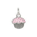 Sterling Silver Pink Enamelled Cupcake Charm
