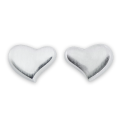 Sterling Silver Brushed Heart Stud Earrings