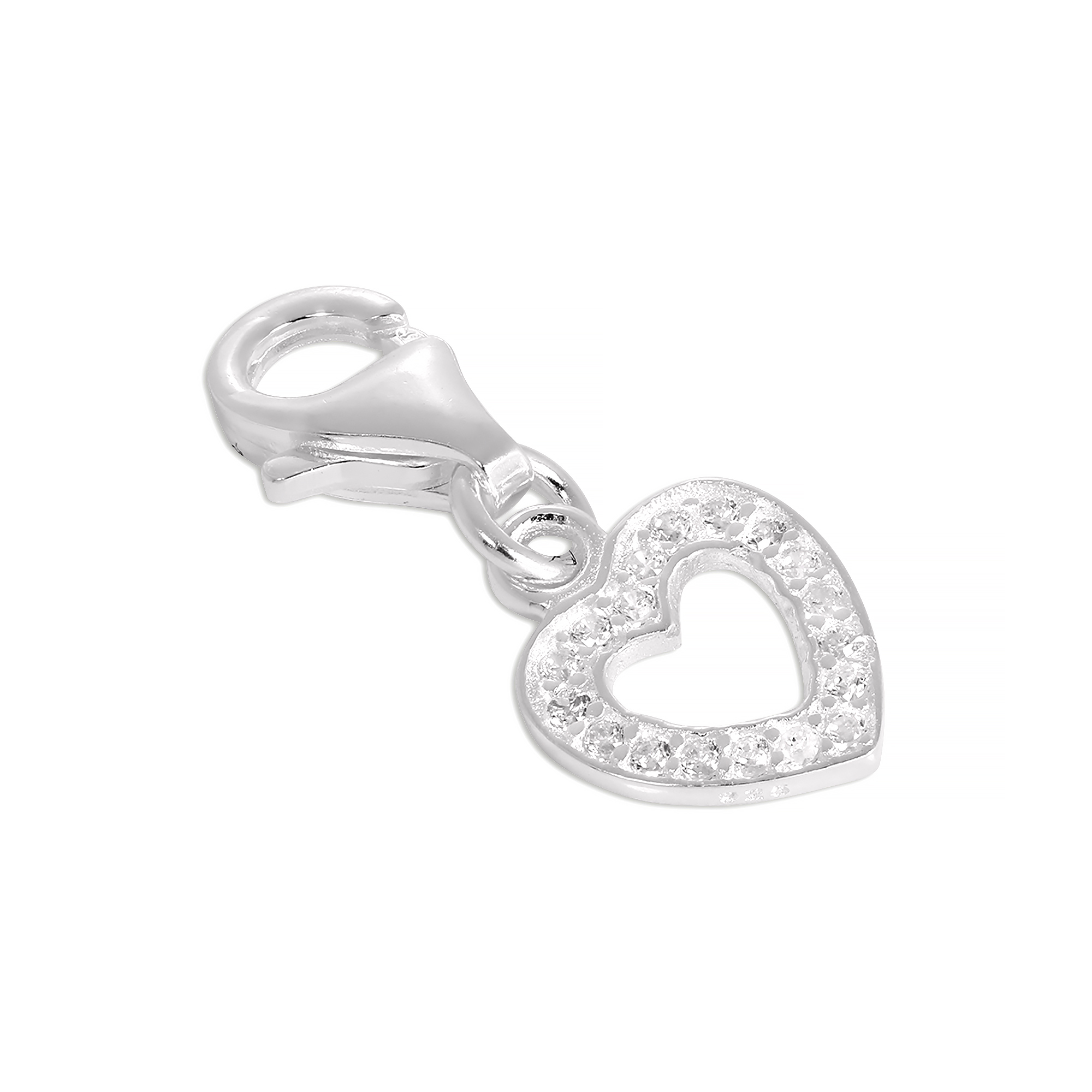 An image of Sterling Silver CZ Crystal Encrusted Open Heart Clip on Charm