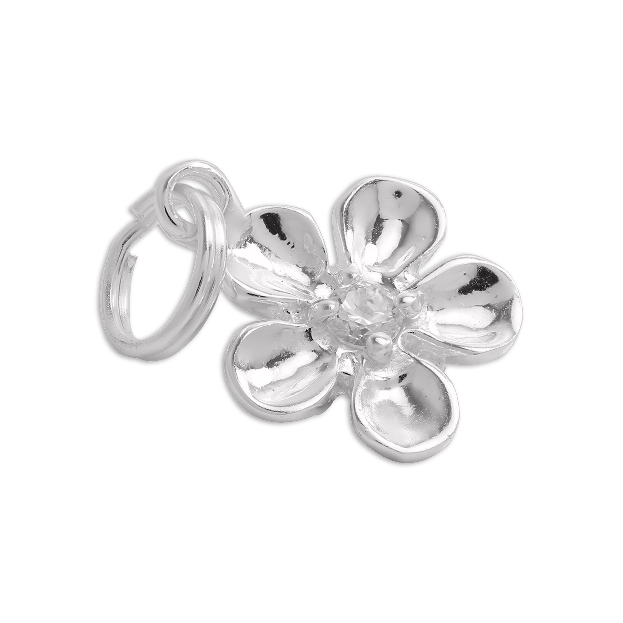 An image of Sterling Silver Flower Charm with Clear CZ Crystal