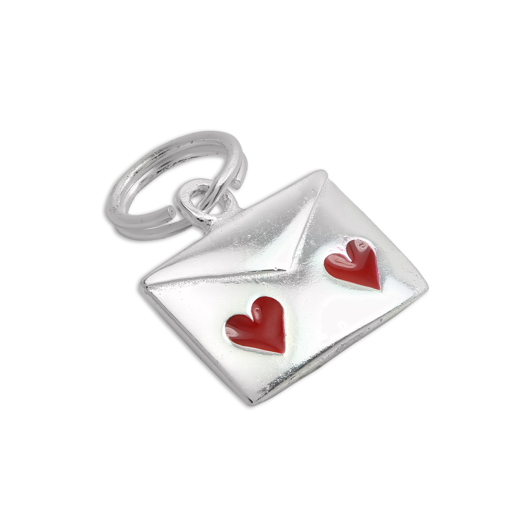 An image of Sterling Silver Red Enamel I Love You Letter with Hearts Charm