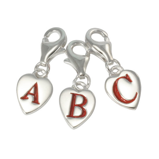 An image of Sterling Silver Enamel Heart Alphabet Letter A - Z Charm on Clip
