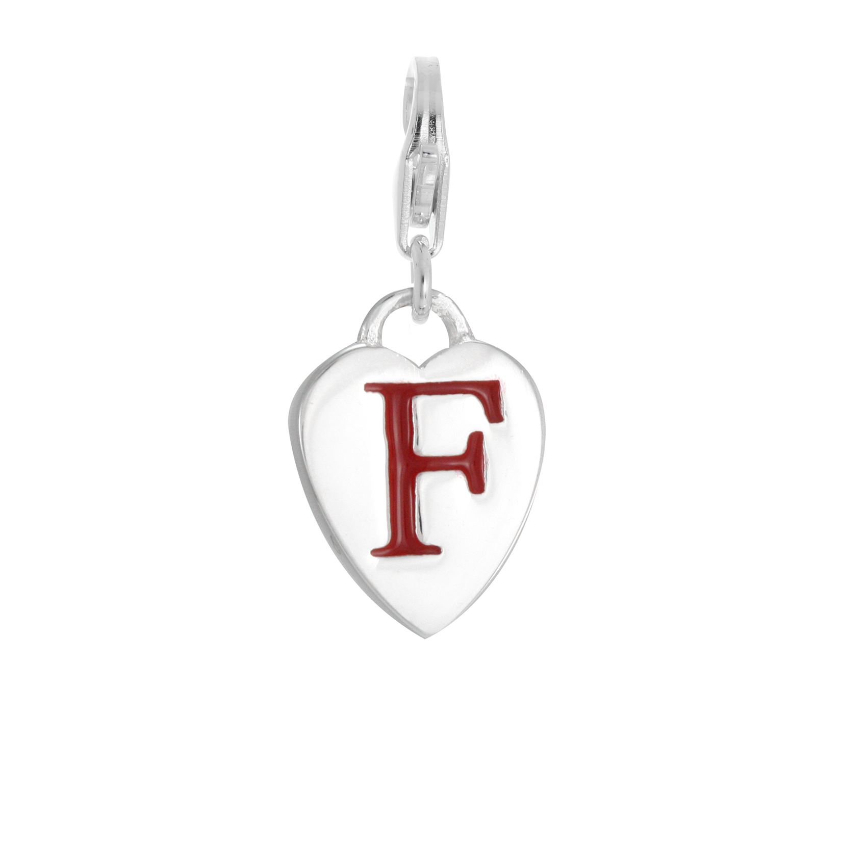 An image of Sterling Silver Enamel Heart Alphabet Letter F Charm on Clip