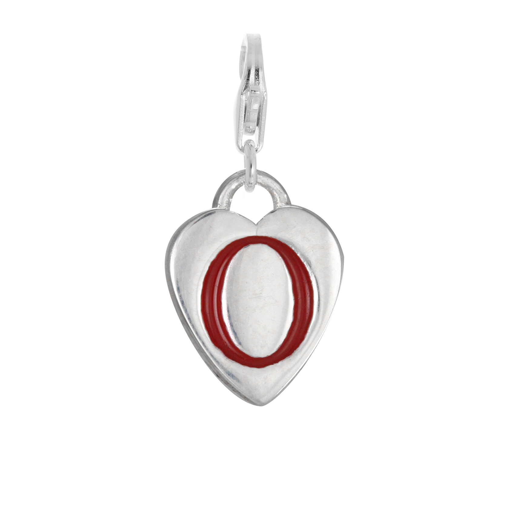 An image of Sterling Silver Enamel Heart Alphabet Letter O Charm on Clip