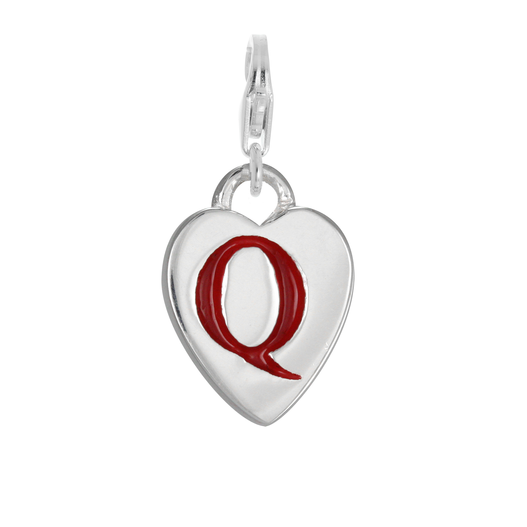 An image of Sterling Silver Enamel Heart Alphabet Letter Q Charm on Clip