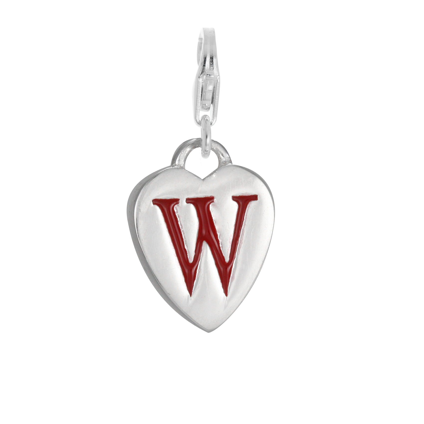 An image of Sterling Silver Enamel Heart Alphabet Letter W Charm on Clip