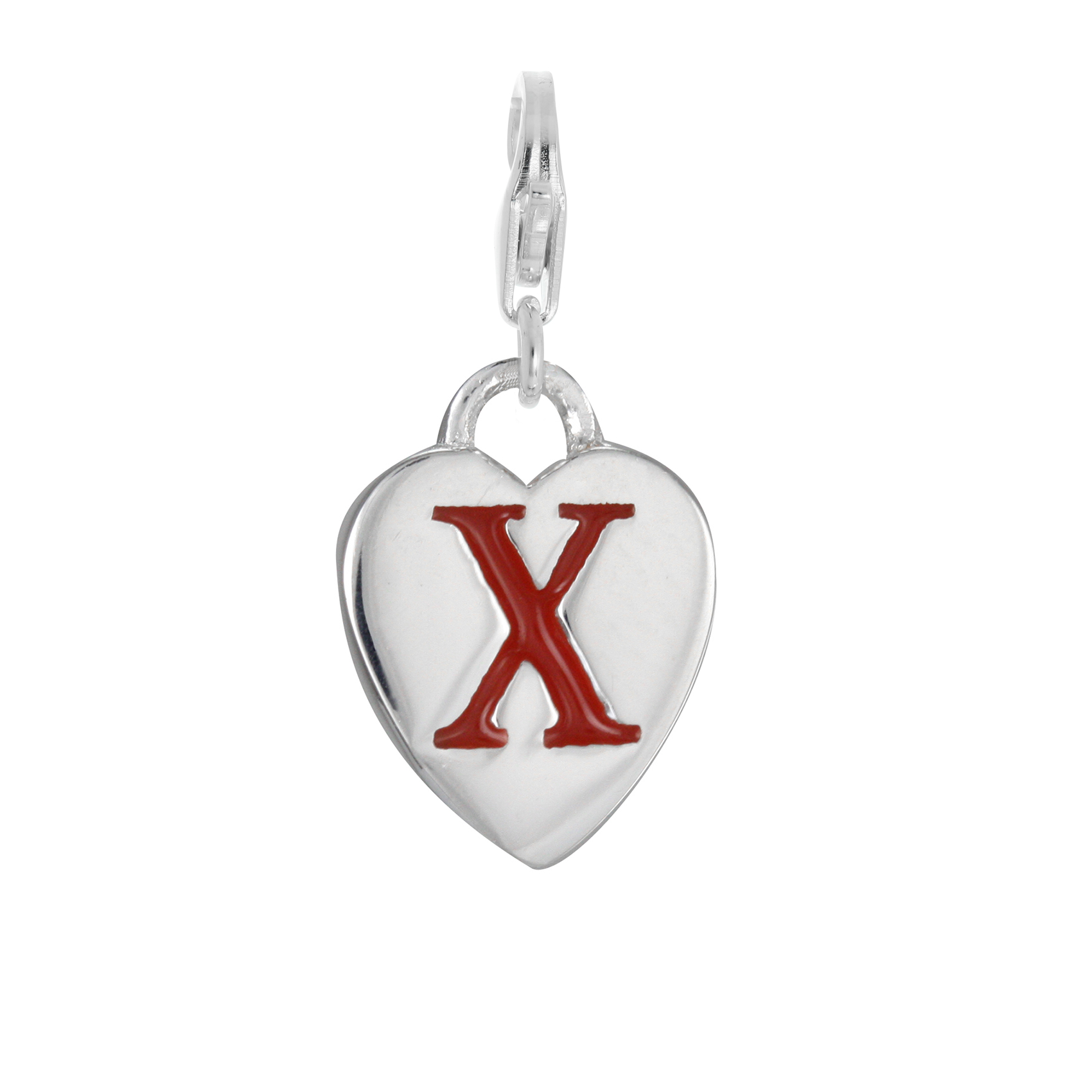 An image of Sterling Silver Enamel Heart Alphabet Letter X Charm on Clip