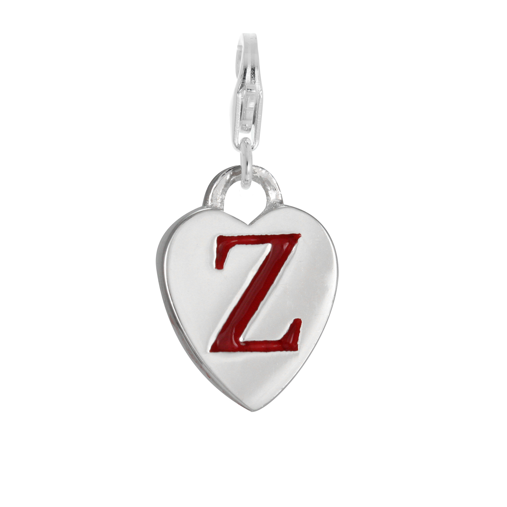 An image of Sterling Silver Enamel Heart Alphabet Letter Z Charm on Clip