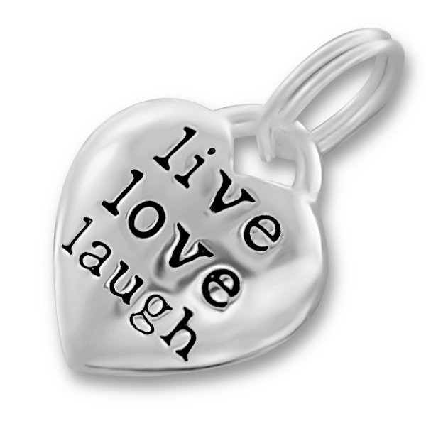 An image of Hollow Sterling Silver Live Laugh Love Heart Charm
