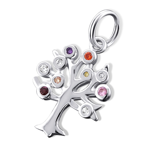 An image of Sterling Silver and Bright Crystals Family Tree Charm