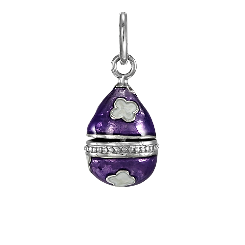 An image of Sterling Silver Purple Faberge Style Egg