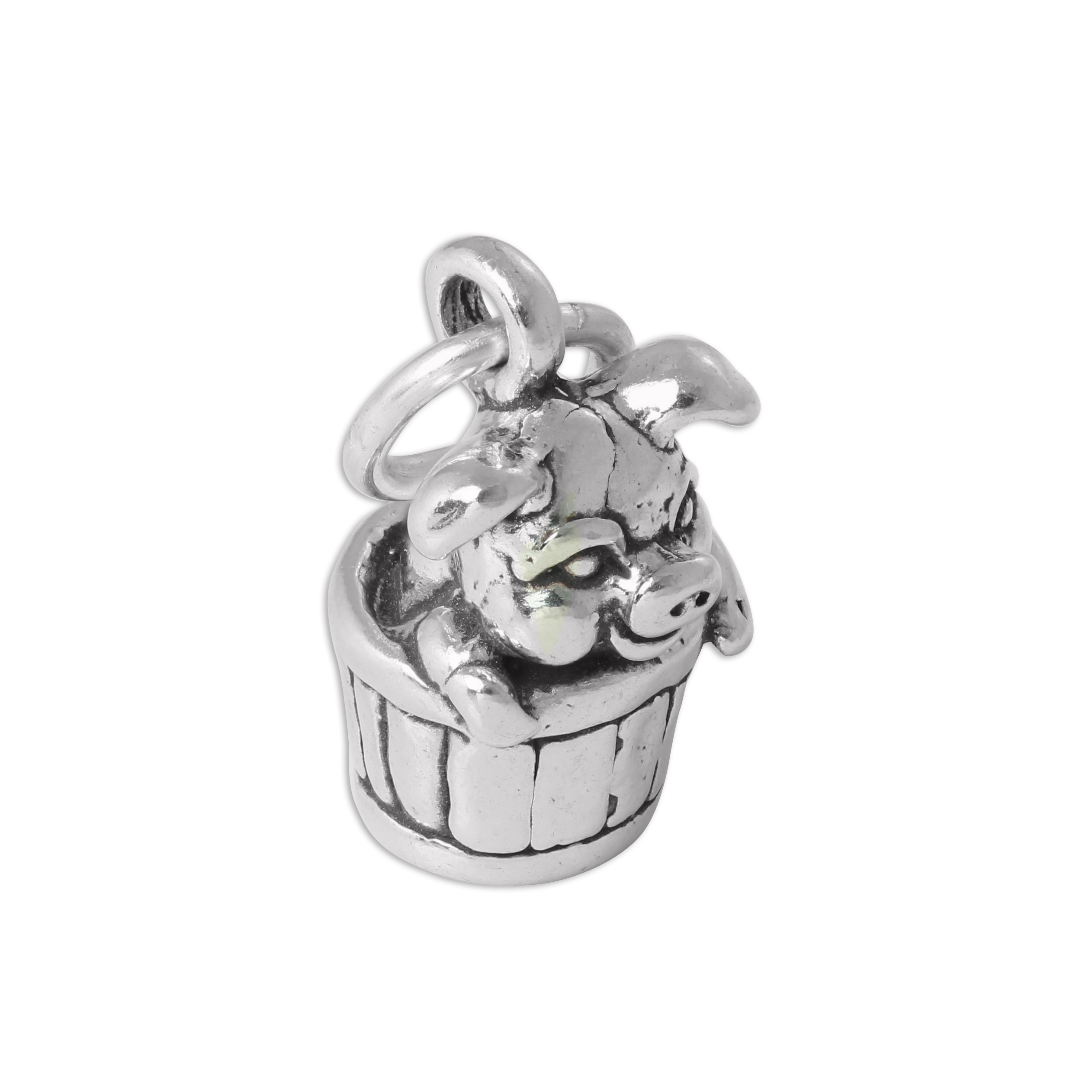 An image of Sterling Silver 3D Pig in Barrel Charm