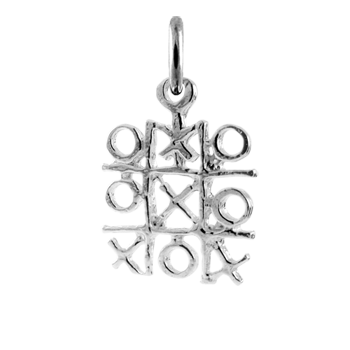 Sterling Silver Noughts and Crosses Charm