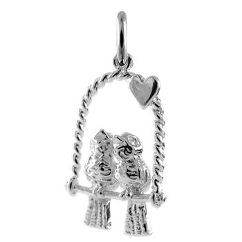 Sterling Silver Love Birds Charm