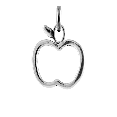 Sterling Silver Apple Outline Charm