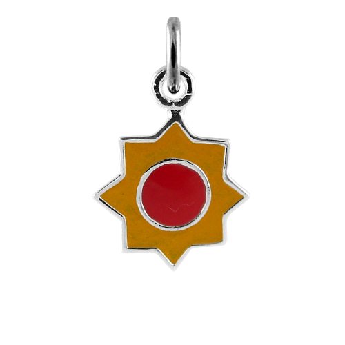 Sterling Silver Yellow Enamelled Sun Charm