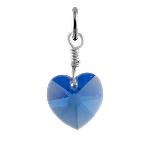 Sterling Silver September Sapphire Crystal Heart Charm