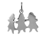 Sterling Silver Kids Paper Cut Out Charm