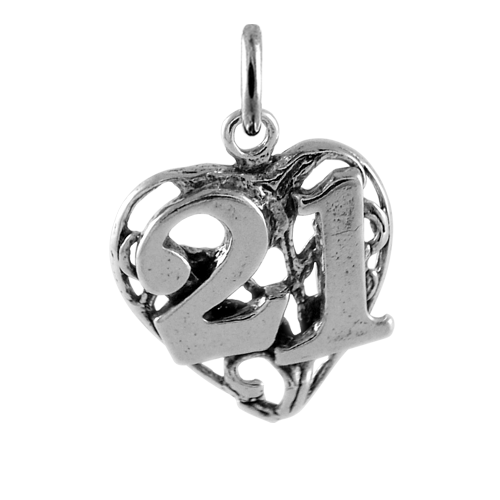 Sterling Silver 21st Birthday Heart Charm