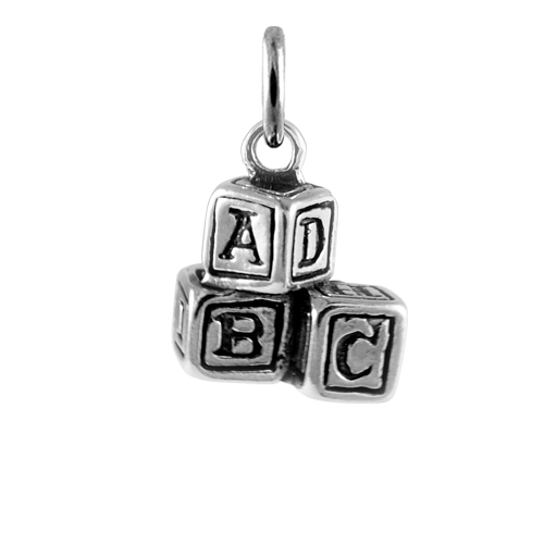 Sterling Silver ABC Blocks Charm