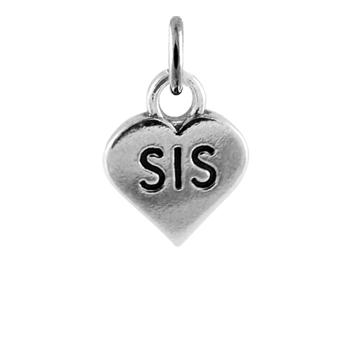 Sterling Silver Sister Heart Charm