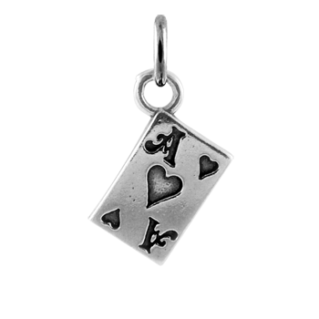 Sterling Silver Ace of Hearts Card Charm