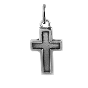 Sterling Silver Cross with Border Charm