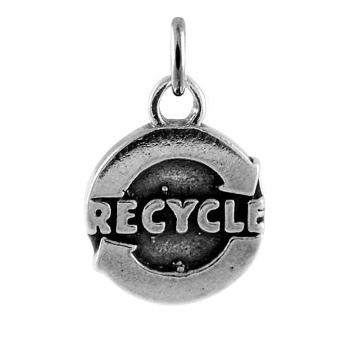 Sterling Silver Recycle Charm