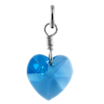 Sterling Silver & Aquamarine March Crystal Heart Charm