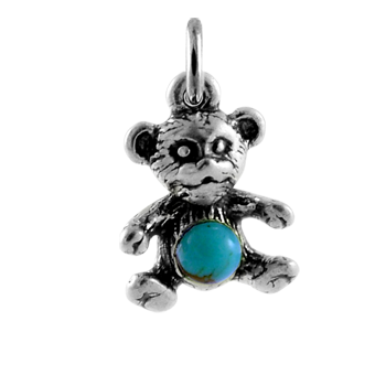 Sterling Silver and Turquoise Teddy Bear Charm