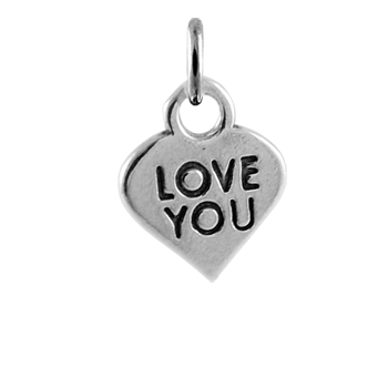 Sterling Silver Love You Heart Charm