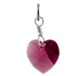 Sterling Silver February Amethyst Crystal Heart Charm